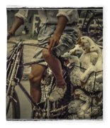 Transport By Bicycle In China Fleece Blanket