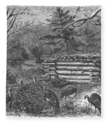 Trapping Wild Turkeys, 1868 Fleece Blanket