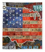 Travel The Usa One Plate At A Time License Plate Art By Design Turnpike Fleece Blanket