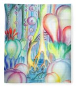 Travel To Planet Of Ball-shaped Flowers Fleece Blanket