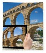 Travel To Pont Du Gard  Fleece Blanket