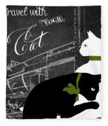 Travel With Your Cat Fleece Blanket