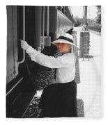Traveling By Train - Black And White Focal Fleece Blanket