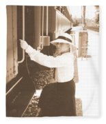 Traveling By Train - Sepia Fleece Blanket