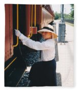 Traveling By Train Fleece Blanket