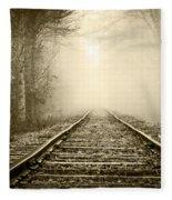 Traveling On The Tracks Antique Fleece Blanket