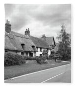 Travellers Delight - English Country Road Black And White Fleece Blanket