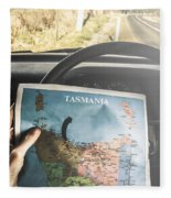 Travelling Tourist With Map Of Tasmania Fleece Blanket