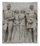 Travis And Crockett On Alamo Monument Fleece Blanket