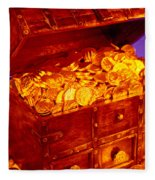 Treasure Chest With Gold Coins Fleece Blanket