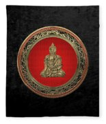 Treasure Trove - Gold Buddha On Black Velvet Fleece Blanket