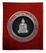 Treasure Trove - Silver Buddha On Red Velvet Fleece Blanket
