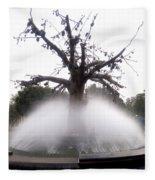 Tree And Fountain Fleece Blanket