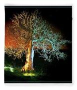 Tree And Moon Fleece Blanket