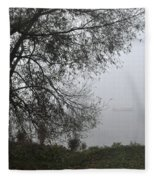 Tree And Moored Boat Fleece Blanket