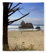Tree And Ocean Fleece Blanket