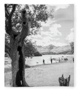 Tree And People By The Lake Fleece Blanket