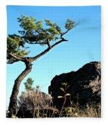 Tree And Rock Fleece Blanket