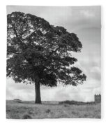 Tree And The Cage Tower In The Distance In Lyme Park Estate In B Fleece Blanket