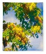 Tree Branch With Leaves In Blue Sky Fleece Blanket