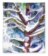 Tree Branches Covered By Snow In Winter Fleece Blanket
