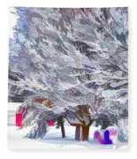 Tree Branches Covered By Snow  Fleece Blanket