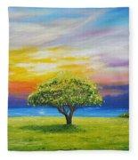 Tree By The Beach Fleece Blanket