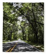 Tree Covered Road Fleece Blanket