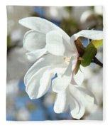 Tree Floral Garden White Magnolia Fleece Blanket