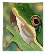 Tree Frog Eyes Fleece Blanket