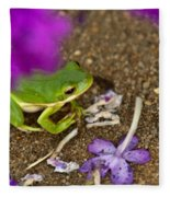 Tree Frog Under Flower Fleece Blanket