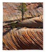 Tree In Flowing Rock Fleece Blanket