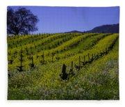 Tree  In Vineyards Fleece Blanket