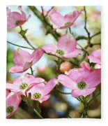 Tree Landscape Pink Dogwood Flowers Baslee Troutman Fleece Blanket