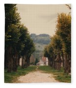 Tree Lined Pathway In Lyon France Fleece Blanket