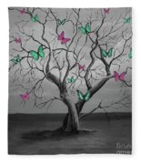 Tree Of Butterflies  Fleece Blanket