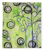 Tree Of Life Spring Abstract Tree Painting  Fleece Blanket