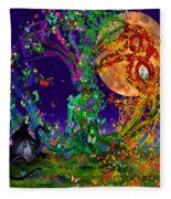 Tree Of Life With Owl And Dragon Fleece Blanket