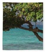 Tree Over Sapphire Beach Fleece Blanket