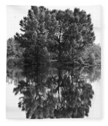 Tree Reflection In Black And White Fleece Blanket