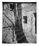 Tree Shadow , Doors And Stairs At The Elder Battery At Fort Delaware Fleece Blanket