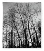 Tree Silhouette Bw Fleece Blanket