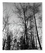 Tree Silhouette II Bw Fleece Blanket
