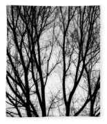 Tree Silhouettes In Black And White Fleece Blanket