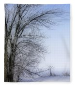 Tree-snow-fog Fleece Blanket