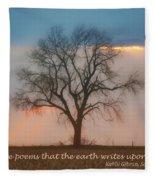 Tree - Sunset - Quotation Fleece Blanket