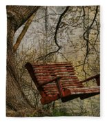 Tree Swing By The Lake Fleece Blanket