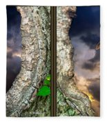 Tree Trunk Portal - 3d Stereo X-view Fleece Blanket