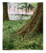 Tree Trunks In Spring Fleece Blanket