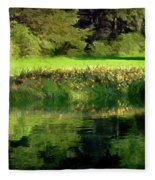 Tree With Lily Reflections Fleece Blanket